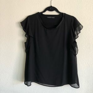 Zara Woman blouse with ruffled arms, black, M
